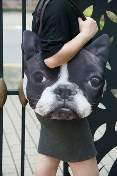 This is a 2-sided Boston Terrier face round shoulder bag, even the strap is having the same print. You see the ears are 3-dimensional, so cute! The