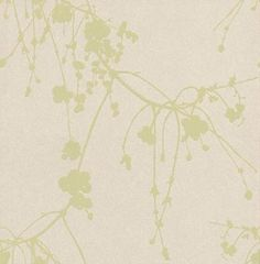 Snowberry Green (TCW1001-05) - Tapet-Cafe Wallpapers - A delicate and charming design, featuring a trailing Danish snowberry branch. The hand drawn effect creates a tranquil and flower-like feel to this wallpaper, and the metallic background with the matt finish creates a modern yet classic feel. Shown here in metallic cream and meadow green. Please request a sample for a true colour match. Paste the wall product.