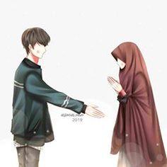 Gambar mungkin berisi: satu orang atau lebih Cute Couple Drawings, Cute Couple Art, Anime Love Couple, Couple Cartoon, Muslim Couple Quotes, Cute Muslim Couples, Cute Couples, Couple Hijab, Hijab Drawing