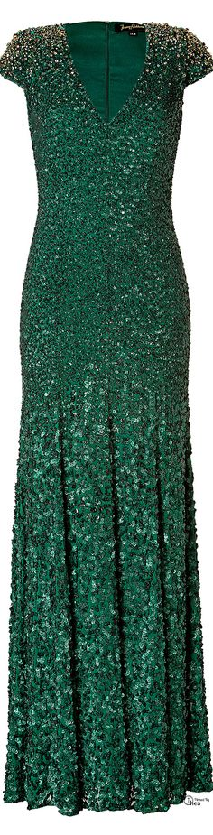 Jenny Packham● Sequined Emerald green silk gown jag lady .....SOOO SPARKLY!