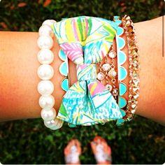 Ohsobow bracelets on etsy. Also have vineyard vines patterns