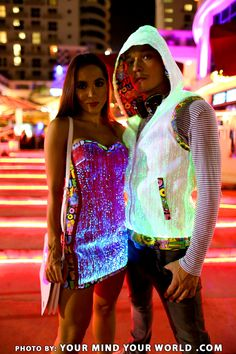 Dress and hoodie made from fiber optic fabric - YOUR MIND YOUR WORLD