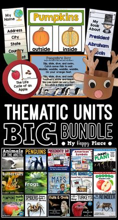 15 thematic units with PowerPoint presentations to use throughout the school year in kindergarten and first grade! Math Resources, Homeschooling Resources, Reading Resources, Homeschool Curriculum, Kindergarten Science, Elementary Science, Teaching Science, Penguin Day, Apple Unit
