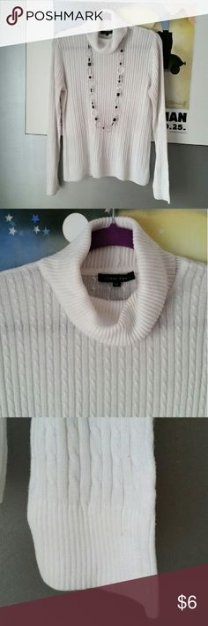 White cable knit turtleneck sweater White cotton cable knit turtleneck sweater, size medium. Gently worn. Jeanne Pierre Sweaters Cowl & Turtlenecks