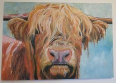 Highland Cow Painting by RoobarbTree on Etsy, £250.00