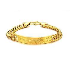 Opk Jewelry Fashion 18k Gold Plated Powerful Men's Bracelets Carved Dragon Gp Wristband Link Chain Bangle $ 11.50