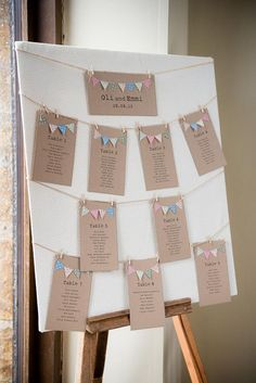 Bunting Table Plan Seating Chart / http://www.deerpearlflowers.com/unique-bunting-wedding-ideas/