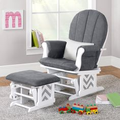 Nursery Glider Rocker Ottoman Baby Room Rocking Chair Cushion Grey Gray Chevron for sale online Nursery Recliner, Nursery Rocker, Rocking Chair Nursery, Rockers For Nursery, Nursery Glider Chair, Nursery Chairs, Baby Rocker, White Wooden Rocking Chair, Upholstered Rocking Chairs