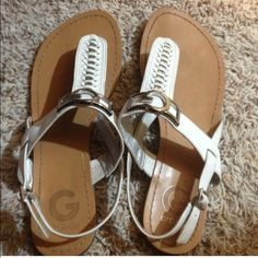 White Guess sandals White Guess sandals with silver accent Guess Shoes Sandals