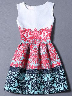 Multicolor Sleeveless Tribal Print A Line Dress -SheIn(Sheinside) Mobile Site
