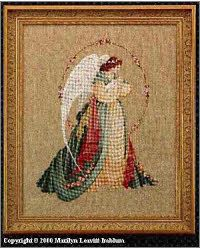 I made this for my sister when she was expecting her second son.  Lavender & Lace counted cross stitch pattern 'Guardian Angel'