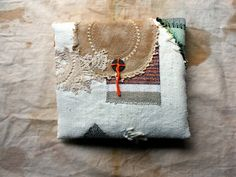 LaTouchables - Tattoo, a Small Hand-Stitched Poet's Pouch in Antique Linen, OOAK, Keepsake, Holder of Treasures, Art Object
