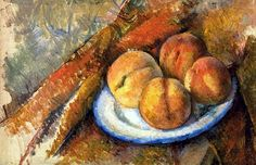 "French Post Impressionist Paul Cezanne (1839 - 1906). - Quatre Peches sur une Assiette"", (1890-94)"