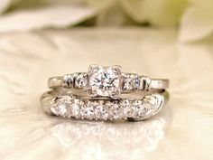 Platinum Engagement Ring Set 0.66ctw Diamond Wedding Ring Set Fishtail Prongs Vintage Engagement Ring Bridal Set Size 7.5!