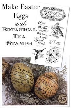 Learn how to make decoupage eggs with Botanical Tea stamps! Perfect for Easter #graphic45