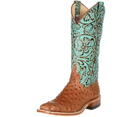 Shop Women's Anderson Bean Cognac Full Quill Ostrich Cowgirl Boots ❤ liked on Polyvore featuring shoes, boots, western boots, ostrich shoes, cowboy style boots, cowgirl boots and ostrich boots