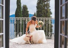 One of a set of images taken at this Italian destination wedding of Tess and JP.  Stunning bride with her pet pug.  Wedding Photography by Matt…