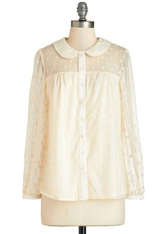 Podium Presence Top - Sheer, Knit, Lace, Mid-length, Cream, Polka Dots, Buttons, Peter Pan Collar, Work, Vintage Inspired, Long Sleeve
