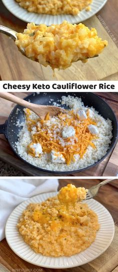 Looking for quick and easy low carb side dish recipes other than just veggies? You would never guess that this simple cheesy cauliflower rice is anything close to a vegetable! It's basically a healthy comfort food, plus it's low carb, keto-friendly and absolutely delicious. The entire family will love it. Serve it with chicken, beef, steak, pork, bbq, fish or any other meal. #dinnerrecipes