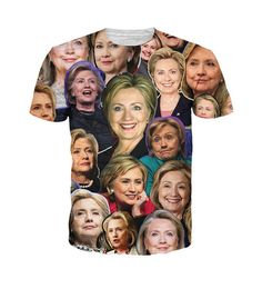 Checkout our Hilary Clinton collage t-shirt. This t-shirt features the democratic nominee Hillary Clinton replicated across the t-shirt. Imagine going to cast your vote while wearing this awesome t-sh