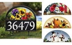 "Clever address marker stakes into the ground and includes 4 seasonal magnets, and 5 sets of decals (numbered 0-9). Sign 11""L x 15 1/4""H."