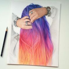 Sunset type of ombre hair color, very pretty