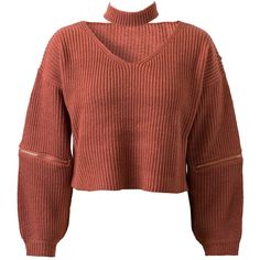 Brick Red V-neck Zipper Detail Choker Knit Jumper ($41) ❤ liked on Polyvore featuring tops, sweaters, brown v neck sweater, brown sweater, v neck jumper, brown knit sweater and v neck knit top