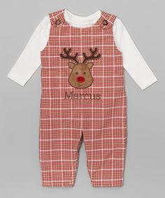 Love this Red Reindeer Personalized Overall Set - Infant & Toddler on #zulily! #zulilyfinds