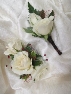 Wrist Corsage & Boutonniere Set - White Majolika Spray Roses, Red Boullion Wire accent, Red Spray Gems, elastic wristlet  2016 Corsage And Boutonniere Set, Wrist Corsage, Spray Roses, Homecoming, Graduation, Wire, Gems, Floral, Gemstones