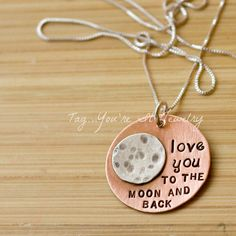 To the Moon and Back Hand Stamped Necklace. $45.00, via Etsy.