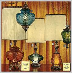 1975 Sears Lighting We had some table lamps kind of like the third one. The bottom part had amber glass and could be left on as a night light. I remember having a lamp kind of like the blue hanging one, too. Art Vintage, Look Vintage, Vintage Lamps, Vintage Decor, Vintage Items, Vintage World Maps, Vintage Lighting, 1970s Decor, Antique Lamps