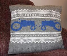 Cute knit tractor pillow, Norwegian