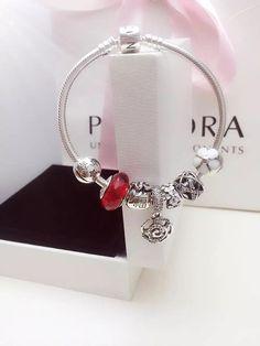 50% OFF!!! $199 Pandora Charm Bracelet White Red. Hot Sale!!! SKU: CB01732 - PANDORA Bracelet Ideas