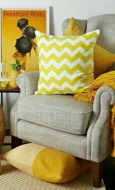 Decor, Furniture, Throw Pillows, Love Seat, Yellow Home Decor, Cozy Chair, Home Decor, Pillows, Couch