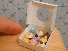 Miniature Dollhouse Assorted Cupcakes in a Box. $28.00, via Etsy.