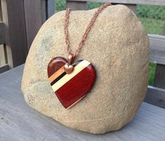 Fall Colours Exotic Wood Bead Heart Pendant 20 inch Copper Chain Necklace Boho