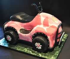 pink 4wheeler cake | this was made for a little girl turning 2 who loves 4 wheelers. All ...