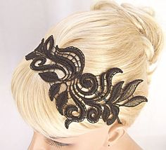 lace headband. If you could attachsometing like this to a mantilla it would help hold it in place all day.