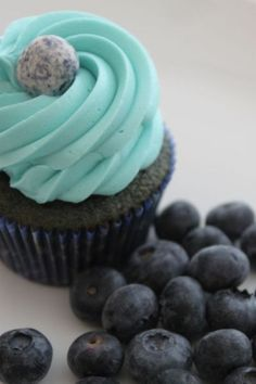 Blueberry Cupcakes: ½ cup butter, room temperature, 1 cup sugar, 2 eggs, 1 ¾ cup pastry flour, 2 tsp. baking soda, 1 tsp. baking powder, ¼ tsp. salt, ¾ cup milk, 2 tsp. vanilla, ½ cup blueberry puree (2 cups  fresh/ thawed BBs,¼ cup sugar,  1 Tbsp. cornstarch).  Preheat oven to 350 degrees.  Line 12-18 cupcake pans with paper liners (or 24+ minis).