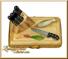 Cutting Board Knives & Fish Limoges Box - Beauchamp