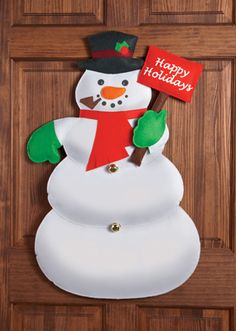 Happy Holidays Snowman Christmas Door Decoration