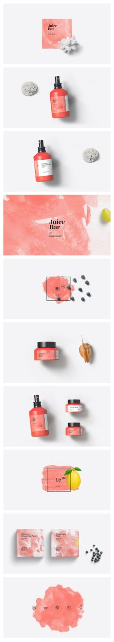 Identity design for exclusive beauty products not available to the general public. Vibrant coral colors and watercolor texture give the packaging modern appeal. Coral Watercolor, Watercolor Design, Watercolor Texture, Identity Design, Identity Branding, Coral Color, Coral Pink, Packaging Design, Juice