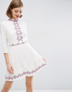 ASOS Pretty Embroidered Folk Skater Dress