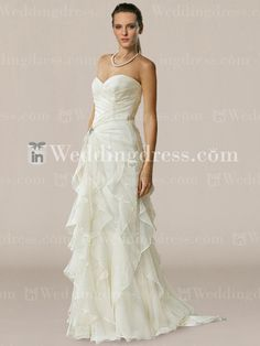 Pretty and effortless.  Elegant Strapless Chiffon Wedding Dress with Ruffles BC694