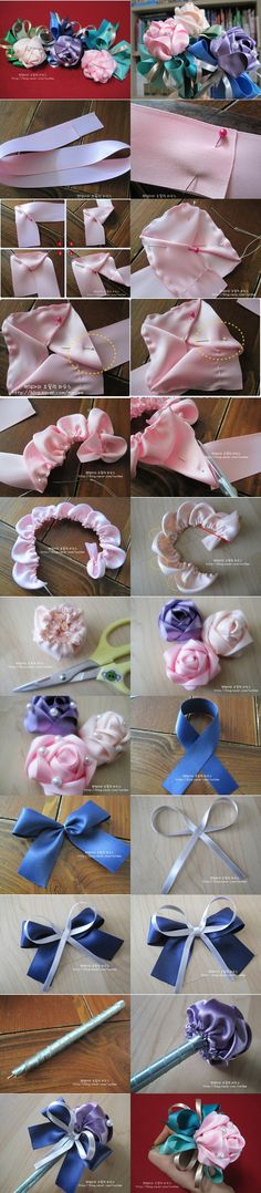How to DIY Ribbon Rose Decoration Pen by wanting Ribbon Art, Diy Ribbon, Fabric Ribbon, Ribbon Crafts, Flower Crafts, Ribbon Bows, Fabric Crafts, Ribbons, Ribbon Flower