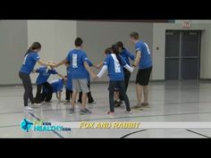 Fox and Rabbit  A warm-up or cool-down tag game that encourages teamwork. No equipment needed.