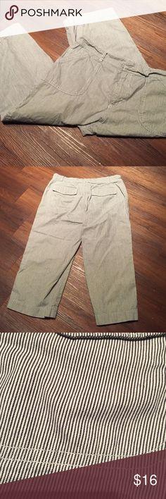 Chico's striped crop pants 100% cotton. White w black stripes. Tag says 15 Chico's Pants Capris