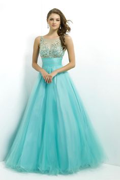 Modest prom dress front! 2014 Prom Dress Scoop Neckline Mesh Illusion Beaded Bodice Tulle