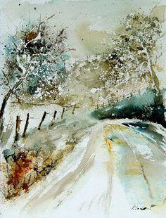 "Pol Ledent; Watercolor 2013 Painting ""watercolor 010604"""