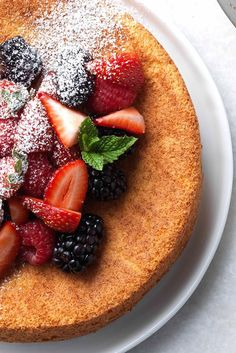 Strawberry Almond Flour Cake Recipe; added 1/2 tsp almond extract; when baking in glass reduce temp 25d; could cut down on sugar.